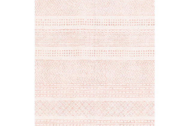 Machine Woven 8' x 10' Area Rug, Coral/Khaki, large