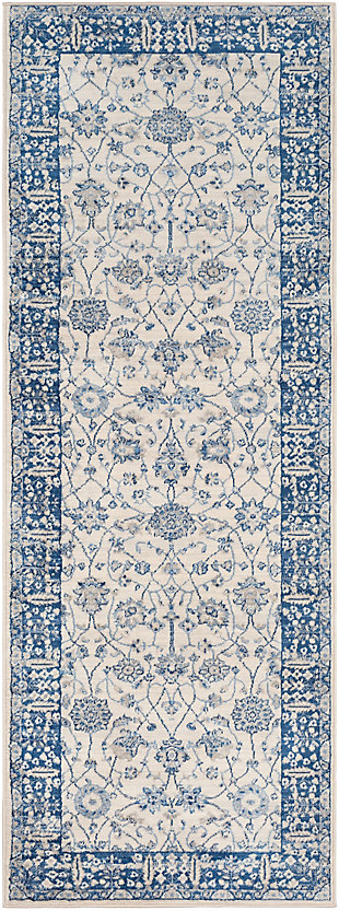 "Machine Woven 2'7"" x 7'3"" Runner Rug, Navy/Ash/Ivory, rollover"