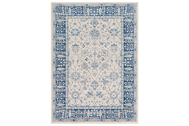 "Machine Woven 5'3"" x 7'3"" Area Rug, Navy/Ash/Ivory, large"