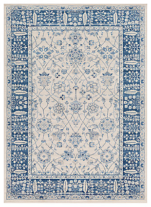 """Machine Woven 6'7"""" x 9'6"""" Area Rug, Navy/Ash/Ivory, large"""
