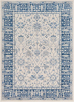 "Machine Woven 6'7"" x 9'6"" Area Rug, Navy/Ash/Ivory, rollover"