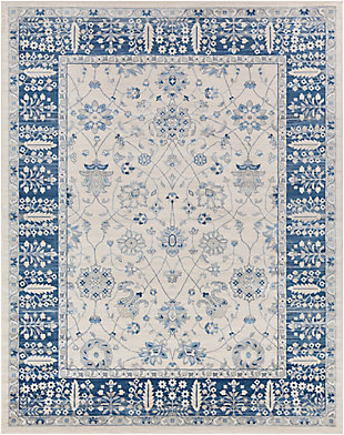 "Machine Woven 7'10"" x 10'3"" Area Rug, Navy/Ash/Ivory, large"