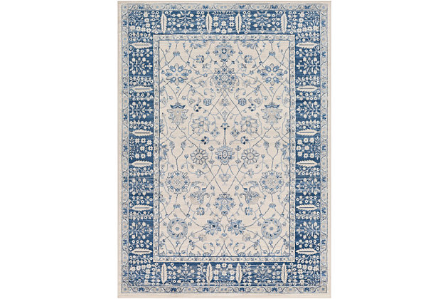 Machine Woven 8' x 10' Area Rug, Navy/Ash/Ivory, large