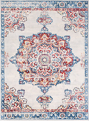 "Machine Woven 7'10"" x 10'3"" Area Rug, Coral/Denim/Cream, rollover"