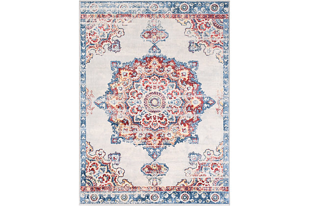 "Machine Woven 7'10"" x 10'3"" Area Rug, Coral/Denim/Cream, large"