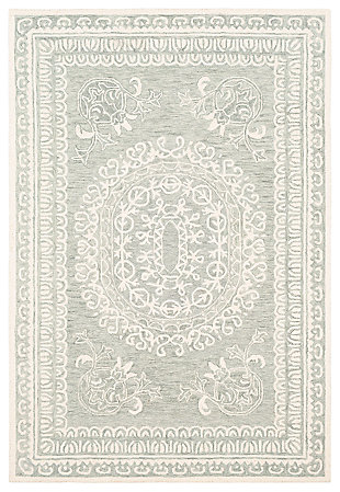 Machine Woven 6' x 9' Area Rug, Seafoam/Sage/Cream, large