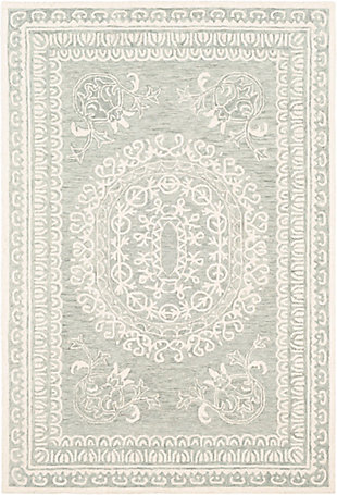 Machine Woven 6' x 9' Area Rug, Seafoam/Sage/Cream, rollover