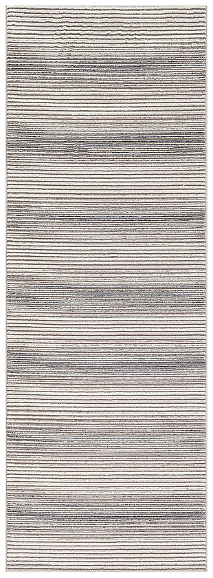"Machine Woven 2'7"" x 7'3"" Runner Rug, Charcoal/Ash/Cream, large"