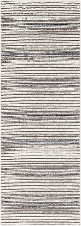 "Machine Woven 2'7"" x 7'3"" Runner Rug, Charcoal/Ash/Cream, rollover"