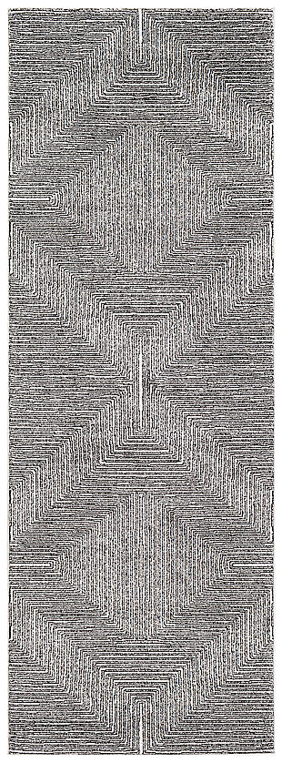 "Machine Woven 2'7"" x 7'3"" Runner Rug, Charcoal/Cream/Black, large"