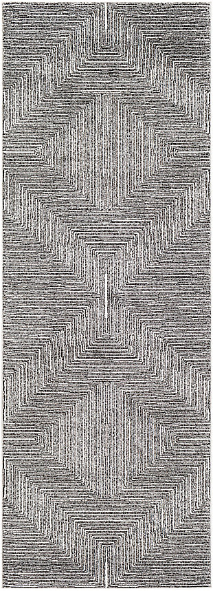 "Machine Woven 2'7"" x 7'3"" Runner Rug, Charcoal/Cream/Black, rollover"