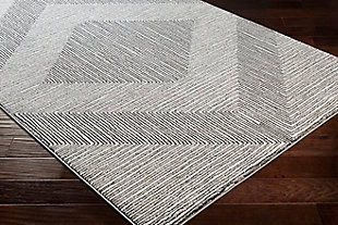 "Machine Woven 5'3"" x 7'3"" Area Rug, Charcoal/Cream/Black, rollover"
