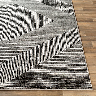 "Machine Woven 5'3"" x 7'3"" Area Rug, Charcoal/Cream/Black, large"