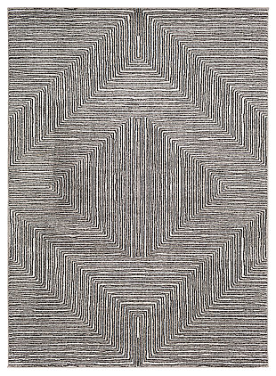 "Machine Woven 7'10"" x 10'3"" Area Rug, Charcoal/Cream/Black, large"
