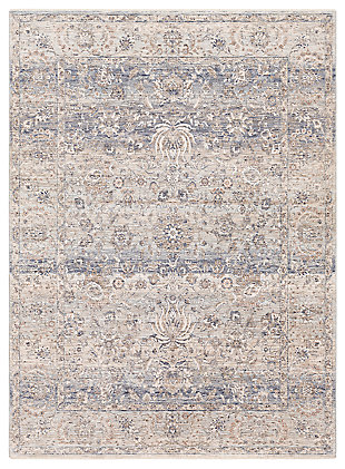 "Machine Woven 3'3"" x 5' Area Rug, Denim/Cream/Ash, large"