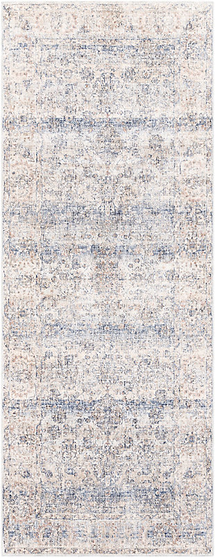 "Machine Woven 3'3"" x 8' Runner Rug, Denim/Cream/Ash, rollover"