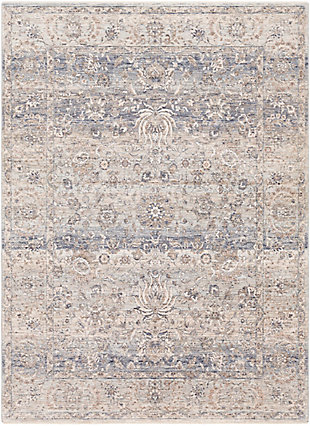 "Machine Woven 5' x 8'2"" Area Rug, Denim/Cream/Ash, rollover"