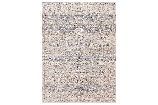 "Machine Woven 7'10"" x 10'3"" Area Rug, Denim/Cream/Ash, large"