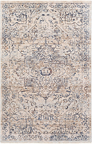 "Machine Woven 3'3"" x 5' Area Rug, Denim/Cream/Ash, rollover"