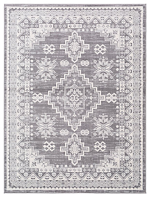 "Machine Woven 6'7"" x 9' Area Rug, Khaki/Ash/Cream, large"