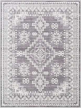 "Machine Woven 6'7"" x 9' Area Rug, Khaki/Ash/Cream, rollover"