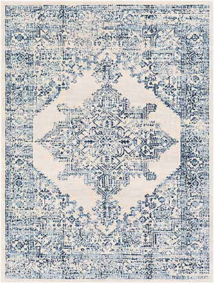"Machine Woven 6'7"" x 9' Area Rug, Navy/Charcoal/Cream, rollover"