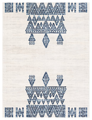 "Machine Woven 7'10"" x 10' Area Rug, Navy/Charcoal/Cream, large"