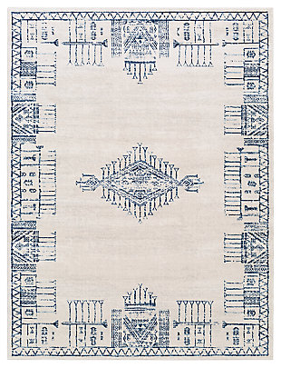 """Machine Woven 6'7"""" x 9' Area Rug, Navy/Charcoal/Cream, large"""