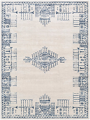 """Machine Woven 6'7"""" x 9' Area Rug, Navy/Charcoal/Cream, rollover"""
