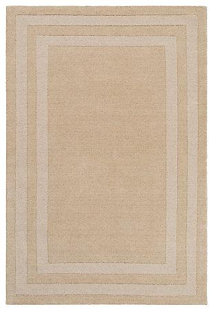 Machine Woven 4' x 6' Area Rug, Wheat/Cream, large