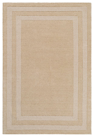 Machine Woven 8' x 11' Area Rug, Wheat/Cream, large