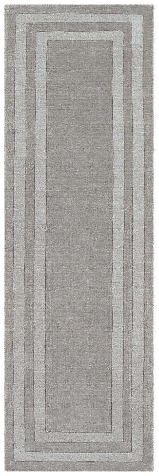 Hand Tufted 2'6 x 8' Runner Rug, Ash/Charcoal, rollover