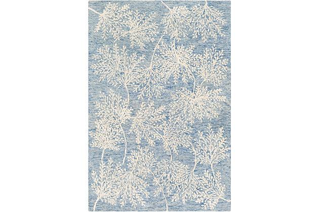 Hand Tufted 2' x 3' Doormat, Denim/Navy/Ivory, large