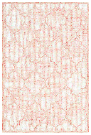 Hand Tufted 6' x 9' Area Rug, Peach/Beige/Rose, large