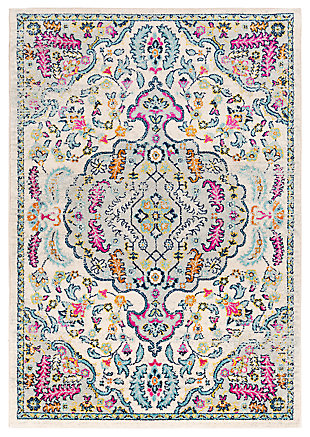 "Hand Tufted 7'10"" x 10'3"" Area Rug, Aqua/Bright Pink/Navy, large"