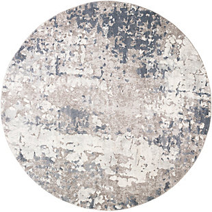 "Machine Woven 7'10"" x 7'10"" Round Rug, Slate/Ash/Cream, large"
