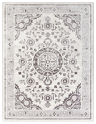 "Machine Woven 7'10"" x 10'3"" Area Rug, Ash/Charcoal/White, large"