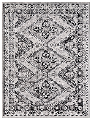 """Machine Woven 7'10"""" x 10'3"""" Area Rug, Charcoal/Navy/Cream, large"""