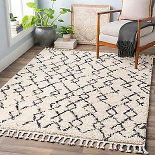 "Plush Bentley Shag 5'3"" x 7'3"" Area Rug, Charcoal/Cream, large"