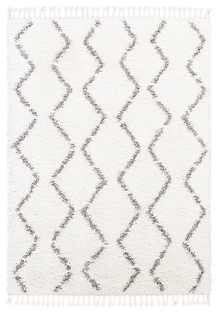 "Machine Woven California Shag 5'3"" x 7'3"" Area Rug, Charcoal/White, large"
