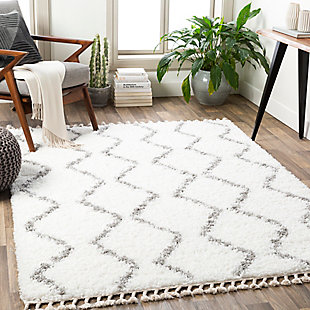 "Machine Woven California Shag 5'3"" x 7'3"" Area Rug, Charcoal/White, rollover"