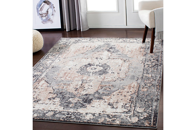 """Machine Woven Styles 6'7"""" x 9' Area Rug, Charcoal, large"""