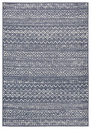 "Machine Woven City Light 5'3"" x 7'3"" Area Rug, Denim/Cream, large"