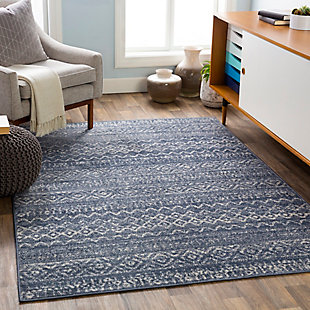 "Machine Woven City Light 5'3"" x 7'3"" Area Rug, Denim/Cream, rollover"