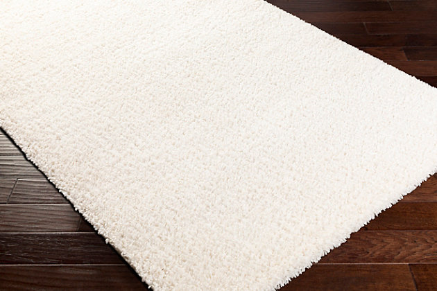 "Machine Woven Deluxe Shag 4'3"" x 5'7"" Area Rug, Cream, large"