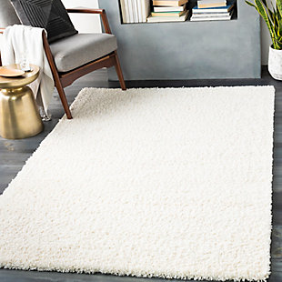 "Machine Woven Deluxe Shag 4'3"" x 5'7"" Area Rug, Cream, rollover"