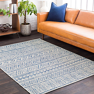 "Machine Woven Eagean 4'3"" x 5'11"" Area Rug, Denim, rollover"
