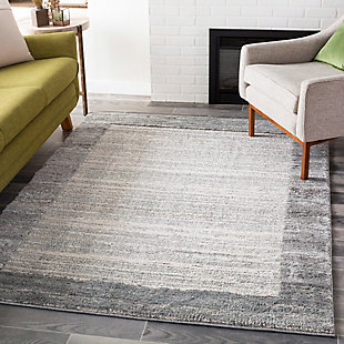 "Machine Woven Lanni 5'3"" x 7'3"" Area Rug, Medium Gray, rollover"
