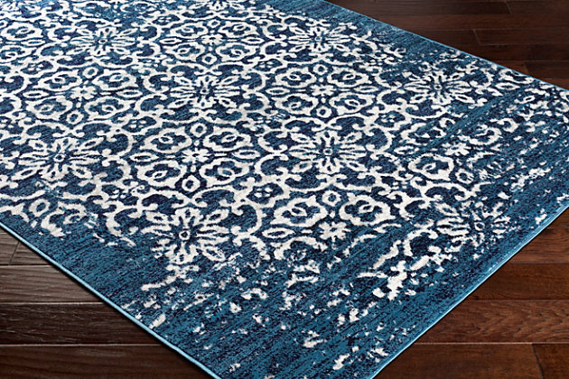 """Machine Woven Monte Carlo 5'3"""" x 7'3"""" Area Rug, Navy, large"""