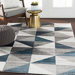 "Machine Woven Monte Carlo 5'3"" x 5'3"" Square Area Rug, Ash Gray, rollover"